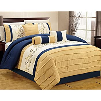Amazoncom Arden By Chezmoi Collection Pieces Modern Pleated - Blue and yellow comforter sets king