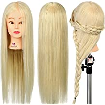 Neverland Beauty 26 Inch 30% Real Hair Hairdressing Cosmetology Training Head Blonde Mannequin Head Hairdresser Training Head w/Clamp For College and Professional Use #613