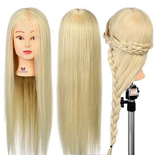 Neverland Beauty 26 Inch 30% Real Hair Hairdressing Cosmetology Training Head Blonde Mannequin Head Hairdresser Training Head w/Clamp For College and Professional Use #613 (Head Beauty)