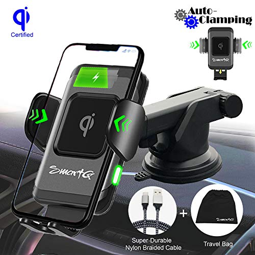 SmartG qi Wireless Car Charger, Fast Car Wireless Charger, 10/7.5W Fast Charger & 5W Air Vent/Windshield/Dashboard Phone Mount, Compatible w/t iPhone 8/X/Xs/Max/XR & Samsung S10/S9/S8/S7