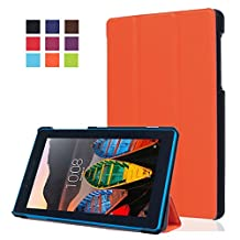 7.0inch Lenovo Tab3 Folding Case Cover,Lenovo Tab3 7 Essential Tablet Case - [Scratch Resistant][Luxury PU Leather] Ultra Slim Light Weight Protector for 2016 Lenovo Tab3 Case,Built-in Stand with Multiple viewing Angles-Orange