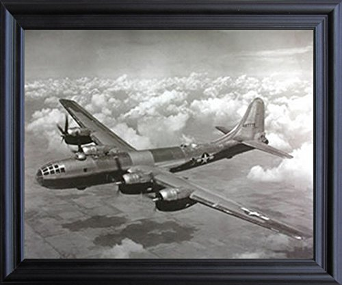 WWII B-29 Super Fortress Airplane Aviation Black Framed Picture Art Print (19x23)