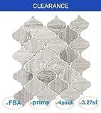 White Oak Marble Natural Wood Veins Arabesque Lantern Mosaic Tile Wall Floor Decorative Bathroom Kitchen Backsplash Tiles (3.27sf,4Pack per Case), Honed