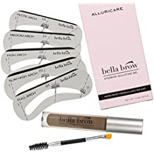Natural Eyebrow Gel Sculpting Duo Volumizing Fiber Gel with Dual Edge Precision Spoolie Brush Applicator and Shaper Stencils - Waterproof and Smear Proof Formula by Bella Brow (Brown/Black)