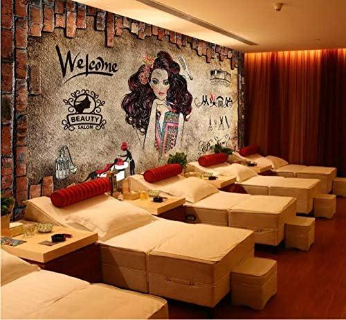 装飾画 3d人格理髪店の壁紙ヨーロッパのレトロなノスタルジックなレンガの壁画ヘアサロン背景壁理髪美容