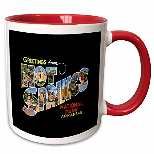 3dRose BLN Vintage US Cities and States Postcards - Greetings From Hot Springs National Park Arkansas Bold Scenic Lettering on Black Background - 15oz Two-Tone Red Mug (mug_160723_10)