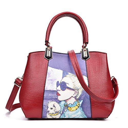 Imprimé sacs à main de modèle de beauté pour les femmes Designer sac de médecin de grande capacité Tote Satchel Crossbody Shoulder Messenger paquet Red