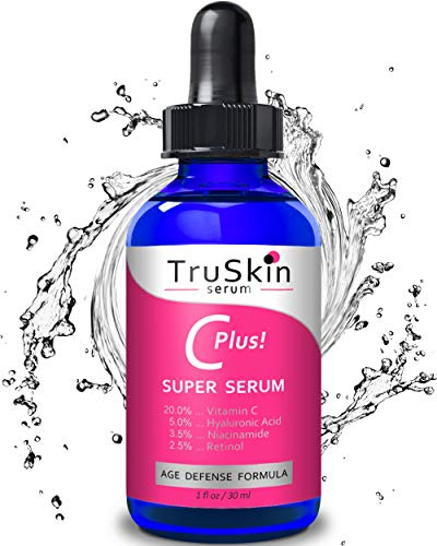TruSkin Vitamin C-Plus Super Serum, Anti Aging Anti-Wrinkle Facial Serum with Niacinamide, Retinol, Hyaluronic Acid, and Salicylic Acid, 1 oz