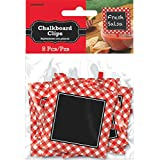 """Delightful Picnic Party Red Plaid Chalkboard Clips Decoration, Paper, 3"""" x 3"""", Pack of 8"""
