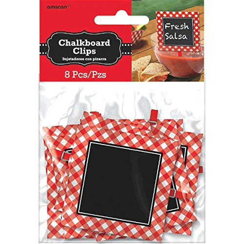 "Delightful Picnic Party Red Plaid Chalkboard Clips Decoration, Paper, 3"" x 3"", Pack of 8"