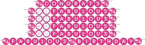 Creative Converting Fabulous Birthday Circle Ribbon Banner, Pink
