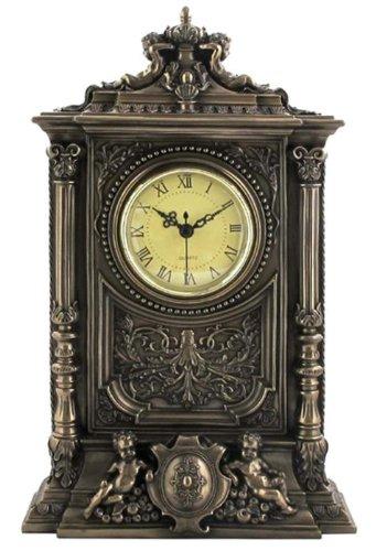 Unicorn Studios WU75315A1 Burnished Bronzehued Baroque Clock with 2 (Baroque Cherub Clock)