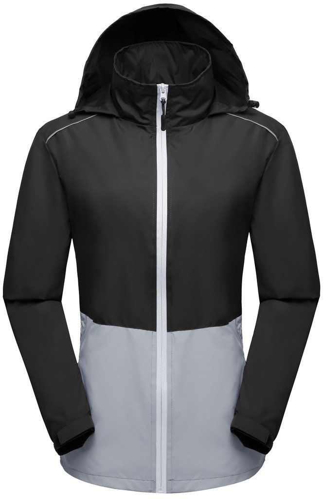 Wantdo Women Lightweight Windbreaker Quick Dry Packable Jacket Black&Gray S by Wantdo