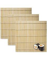 3 Sheets Sushi Mat, 9.5x9.5 Inch Natural Bamboo Sushi Rolling Mat, Sushi Roller Sheets for Professional Sushi Making