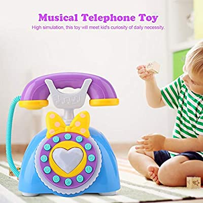 Salmue Children's Phone Toy Intelligent Colorful Lights Analog Bilingual Music Phone Children's Educational Early Childhood Toys Learning Education Birthday Gifts( Blue): Toys & Games