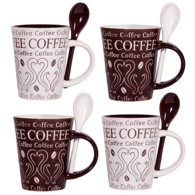 Home Essentials Coffee and Swirl Set of 4 Asst 10oz Mug & Spoon