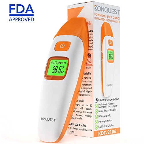 Konquest Medical Digital Thermometer - Ear, Forehead and Object - Multi Mode, Infrared Digital Thermometer - Non Contact, for Baby, Children and Adults, FDA and CE Approved