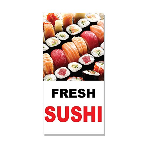 - Fresh Sushi Black Red Bar Restaurant DECAL STICKER Retail Store Sign - 9.5 x 24 inches