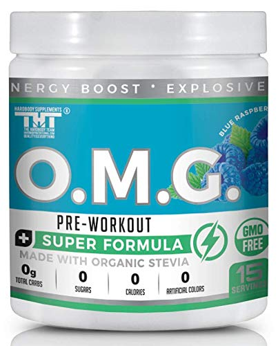 OMG Preworkout with Organic Caffeine and Creatine for Men and Women | Electrolytes and Stevia | Boost Energy, Stamina, Mental Clarity and Focus (Best Organic Pre Workout)