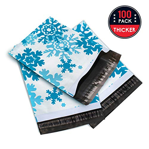 "Poly Mailers 10""x13"" Snowflake 100 Pack, La Croqueta Shipping Envelope Mailer Bags Self-Sealing"