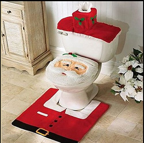 Price comparison product image Run Santa Claus Bathroom Toilet Seat Cover Carpet in Christmas Decoration Christmas Set Decoration (Red, White)