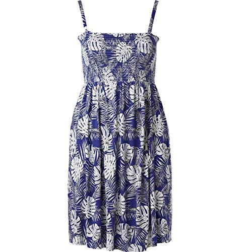 - Ellos Women's Plus Size Smocked Bodice Tank Dress - Blueberry Fern Print, M