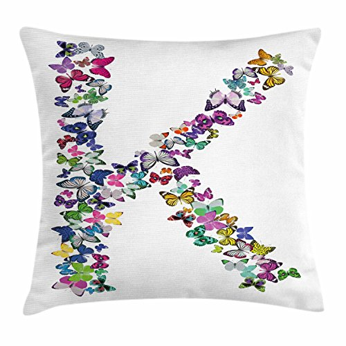 Letter K Throw Pillow Cushion Cover by Ambesonne, Nature Inspired Typography Letters with Flying Monarch Butterflies Insects Wings, Decorative Square Accent Pillow Case, 16 X 16 Inches, Multicolor