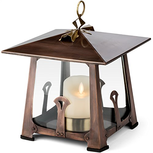 H Potter Craftsman Candle Lantern Decorative Table Top Indoor Outdoor Patio Candle Holder Small by H Potter