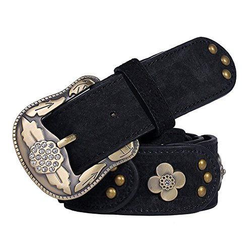 her Belt with Cubic Zirconia&Pin Buckle-Bronze,Width 1.5inch (Black) (Belted Cowhide Belt)