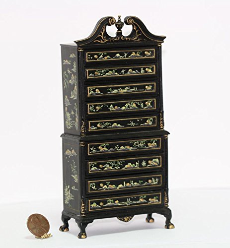 Dollhouse Miniature Oriental Ornate High Boy Dresser in Black Chinnoisiere B01IDZPLPM