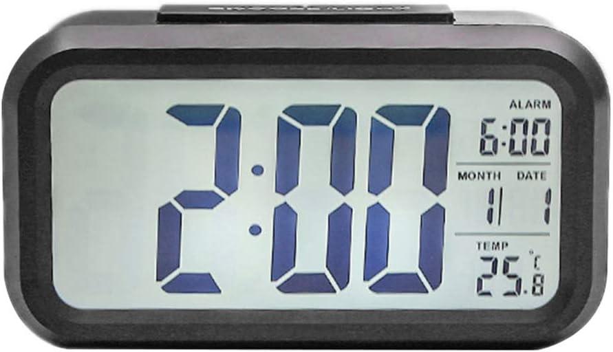 fish Alarma Reloj Inteligente de múltiples Funciones electrónico Estudiante Silencio LCD Luminoso Dormitorio Simple Digital Pequeño Reloj,Black,138 * 45 * 80mm