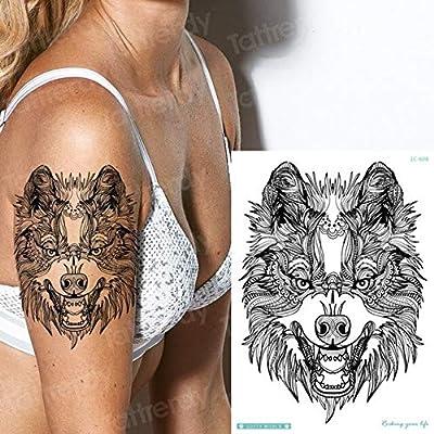 HXMAN 5 Unids Tatuaje Falso Mujeres Lobo Temporal Tatuaje Animales ...