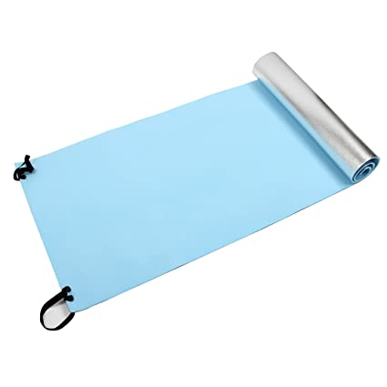 Yoga Mat - SODIAL(R)Extra Thick Camping Picnic Pad Yoga Mat Sleeping Outdoor Mattress Fitness Mat (Blue, Silver)