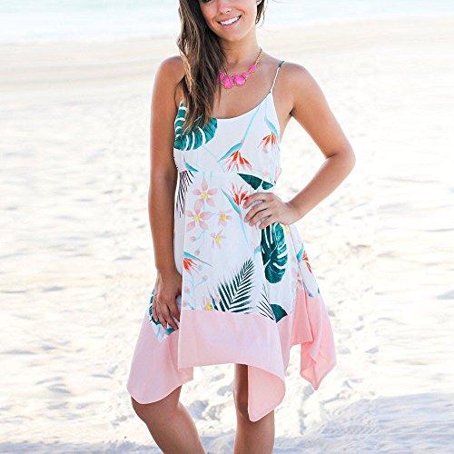 LILICAT Mujeres sin espalda sin mangas vestido de cuello de flores vestido de playa