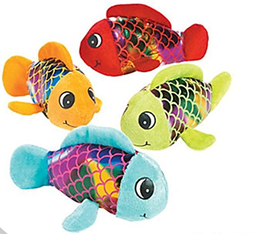Fun Express Plush Shiny Fish, Fish Stuffed Animal Party Favors, One Dozen