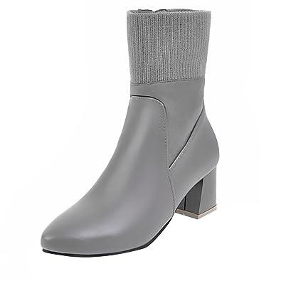 UH Damen Spitze Stiefeletten Blockabsatz Ankle Boots mit