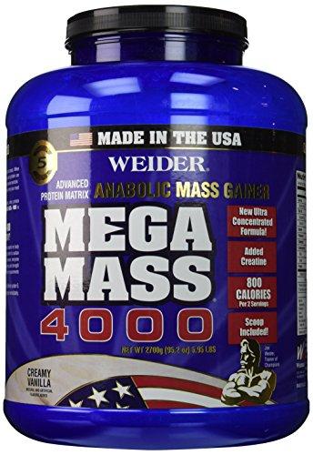 Weider MEGA MASS, Clean Anabolic Mass Gainer Formula, Creamy Vanilla, 5.95lbs