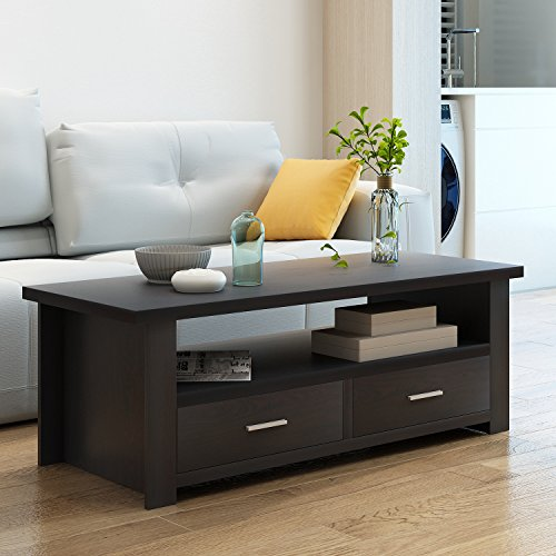 Soges Coffee Table/Console Table/TV Stand Living Room Entertainment Center Media Storage Console Living Room Furniture, (Center Media Storage)