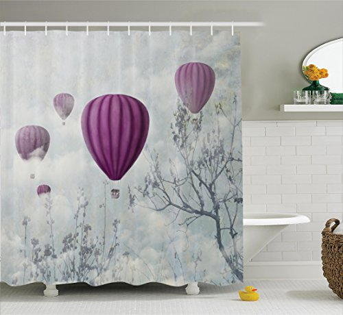 Balloon Air Hot Romantic (Ambesonne Fantasy House Decor Collection, Hot Air Balloons in the Clouds Dream Journey to Secret Paradise Romantic Design, Polyester Fabric Bathroom Shower Curtain Set with Hooks, Blue Purple)
