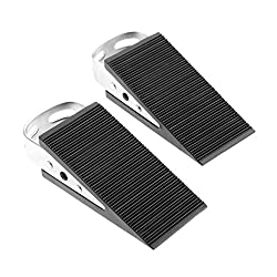 2pcs Door Stopper Steel Wedge Door Holder Black Anti-Skid Rubber Silver Metal Body Doorstop