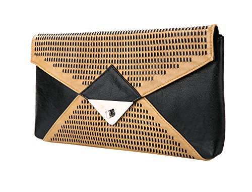 Faux Leather Woven Envelope Clutch w/ Twist Lock Closure