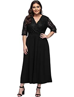 46858f932095a Women s Plus Size V-Neckline Floral Lace Top Dress Cocktail Party Swing  Dress