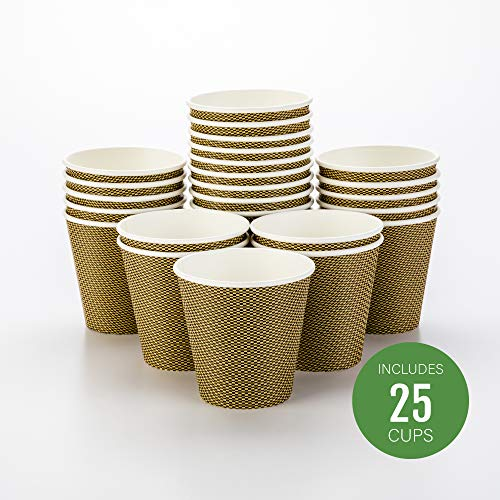 - Disposable Paper Hot Cups - 25ct - Hot Beverage Cups, Paper Tea Cup - 8 oz - Mocha Pin Check - Spiral Wall, No Need For Sleeves - Insulated - Wholesale - Takeout Coffee Cup - Restaurantware