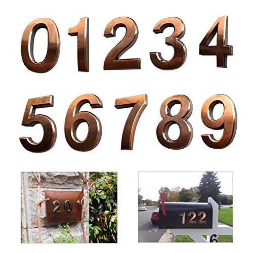 - 4 Inch Mailbox Numbers 0-9, Door Address Number Stickers for House/Apartment/Floor, Bronze/Silver, by Hopewan. (10 Pack 0-9, Bronze)