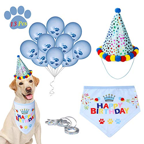 D-buy 13 Pcs Dog Birthday Party Set -Dog Birthday Bandana Scarf, Cute Doggie Birthday Party Hat, 10 Paw Print Balloons and a roll of 400-inch silver ribbon-Great Birthday Party Supplies for Dogs, Pets]()
