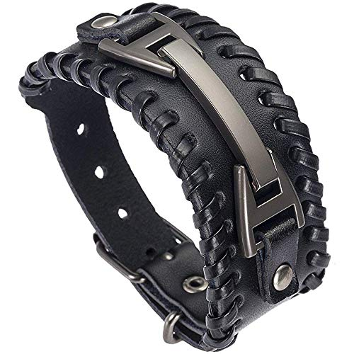 Stylebar Mens Genuine Leather Cuff Bracelet Punk Wide Wrap Metal Bracelets Black Bangle Wristband with Adjustable Belt Strap Rock Handmade Jewelry for Men Boys Biker Teen Unisex Women