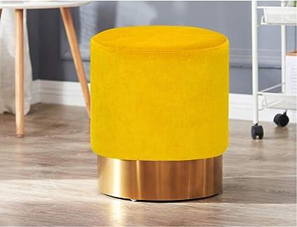 Living Express Modern Velvet Round Upholstered Ottoman Stool Golden Metal  Base,Small Living Room