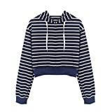 Fashion Womens Long Sleeve Hoodie Sweatshirts T-Shirt Striped Shirts Casual Tops Blouse