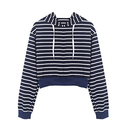 Fashion Womens Long Sleeve Hoodie Sweatshirts T-Shirt Striped Shirts Casual Tops Blouse by LUCA