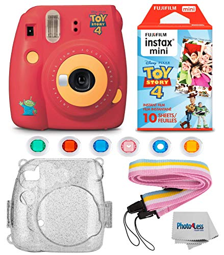 Fujifilm Instax Mini 9 Instant Camera – Toy Story 4 Edition, Fuji Instax Mini Instant Film Toy story (10 Sheets), Glitter Hard Case, – Mini 9 Accessory Bundle